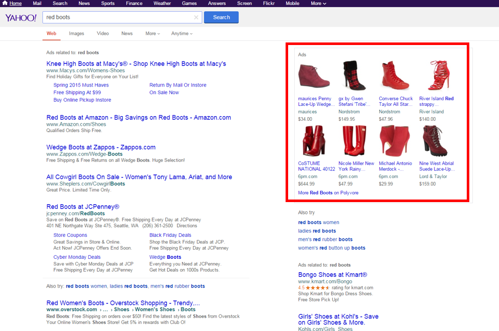 Advertising on Polyvore, Yahoo product listing ads