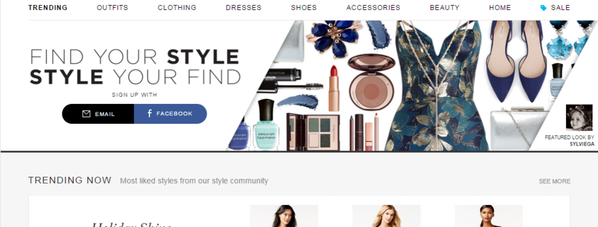 Polyvore homepage
