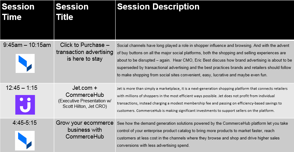 CommerceHub IRCE 2015 Schedule