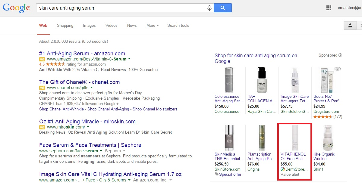 'Value alert' label on Google Shopping PLAs